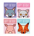 set of happy birthday animals cards vector image