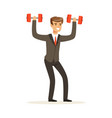 smiling businessman in a suit easily lifting two vector image vector image