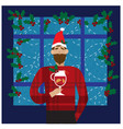 smiling man in santa red hat holding mulled wine vector image vector image