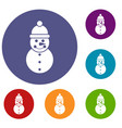 snowman icons set vector image vector image