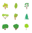 Varieties of trees icons set cartoon style vector image vector image