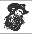 western girl with revolver vector image vector image