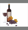 wine glass wine bottle and grapes vector image
