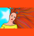 woman with red hair biting lip vector image vector image