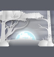 paper art of lanscape snow with fullmoon vector image