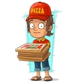 Cartoon delivery man with few pizza box vector image