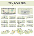 10 dollars banknote cartoon us currency vector image vector image
