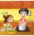 A young girl and boy at the kitchen vector image vector image