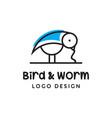 bird and worm logo vector image vector image