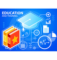 bright graduate cap and books on blue backgr vector image
