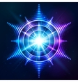Bright shining blue neon sun at dark cosmic vector image