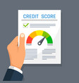 businessman hand holding credit history finance vector image