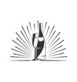 champagne bottle and wine glass vector image