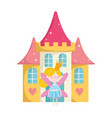 cute little fairy with crown and castle fantasy vector image vector image