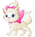 cute white cat with pink bow vector image