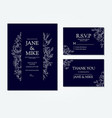 dark blue wedding invitation card template with vector image vector image