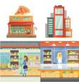 different stores buildings supermarket set flat vector image vector image