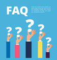 faq concept businessman hands holding question vector image vector image
