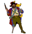 Fearsome pirate with a parrot vector image