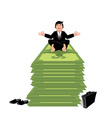 Financial yoga Business meditation Businessman vector image vector image