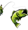 fisherman caught fish vector image