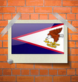 Flags American Samoa scotch taped to a red brick vector image
