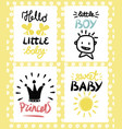 four children s logo with handwriting hello vector image vector image