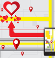 Gps navigate find to love heart vector image vector image