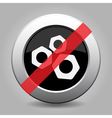 gray chrome button - no nuts vector image