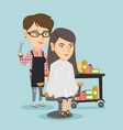 hairdresser making a haircut to a young woman vector image vector image