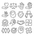 honesty and integrity line icons on white vector image vector image