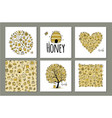 honey set - frame tree heart sketch for your vector image vector image