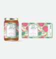 label packaging jar marmalade pattern red apple vector image vector image