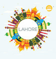 lahore skyline with color landmarks blue sky and vector image vector image