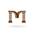 Letter M logo with columns Architecture business vector image vector image