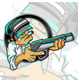 mascot logo cigarettes soldier with pubg helmet vector image vector image