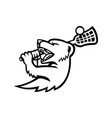mongoose with lacrosse stock mascot black and vector image vector image