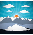 Mountain Abstract Background with Sun Clouds vector image
