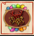 multi colored easter eggs on a wood background vector image vector image
