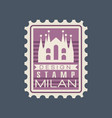 original rectangular postmark with milan cathedral vector image
