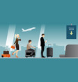 people with baggage in airport terminal vector image
