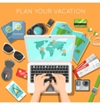 planning vacation with laptop vector image