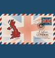 postcard with map great britain and uk flag vector image vector image