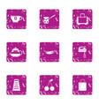 prepare to party icons set grunge style vector image