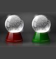 red and green snow globe empty template vector image vector image