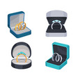 rings with diamonds in opened box icons set vector image