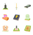 ritual service icons set cartoon style vector image vector image