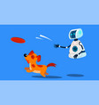 robot dogwalker playing with a dog vector image vector image