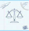 scales justice line sketch icon isolated on vector image
