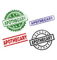 scratched textured apothecary seal stamps vector image